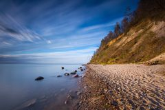 Beautiful Baltic sea shore with big cliff in Gdynia Orlowo Royalty Free Stock Photos