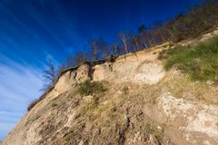 Beautiful Baltic sea shore with big cliff in Gdynia Orlowo Stock Photo
