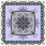 Beautiful bandaba print in grey and blue tones with flower mandalas. Stock Photos