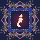 Beautiful bandana print with a female portrait and floral border Royalty Free Stock Images