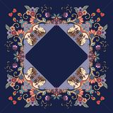 Beautiful bandana print with a female portrait and floral ornament. Royalty Free Stock Images