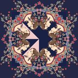 Beautiful bandana print with a female portrait and floral ornament Stock Images