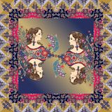 Beautiful bandana print with female portraits in ornamental frame Royalty Free Stock Images
