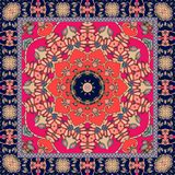Beautiful bandana or square rug with stylized red flower Stock Photography