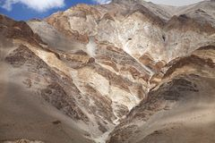 Beautiful banding in the ophiolite melange & mafic volcanic rocks, Ladakh Stock Photo