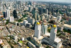 Beautiful Bangkok city, bird eye view on majestic cityscape with modern new buildings, daytime panoramic scene. Thailand royalty free stock photography