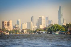Beautiful Bangkok cityscape view from Chao Phraya River. Bangkok is the capital and most populous city of the Kingdom of Thailand,. Beautiful Bangkok downtown royalty free stock photos
