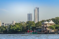 Beautiful Bangkok cityscape view from Chao Phraya River. Bangkok is the capital and most populous city of the Kingdom of Thailand,. Beautiful Bangkok downtown royalty free stock photography