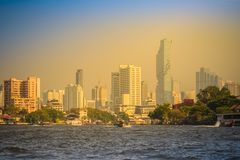 Beautiful Bangkok cityscape view from Chao Phraya River. Bangkok is the capital and most populous city of the Kingdom of Thailand,. Beautiful Bangkok downtown royalty free stock photo
