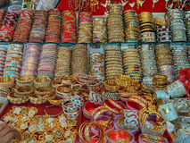 Beautiful bangles and jewelry. At street market in India Royalty Free Stock Photos