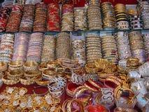 Beautiful bangles at street market. In India stock photo