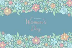 Beautiful banner with hand drawn flowers for Women`s Day. stock image