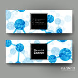 Beautiful banner vector template with DNA molecule background Stock Images