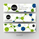 Beautiful banner vector template with DNA molecule background Stock Photography