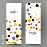 Beautiful banner vector template with DNA molecule background Royalty Free Stock Images