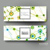 Beautiful banner vector template with DNA molecule background Royalty Free Stock Photos