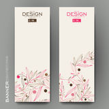 Beautiful banner vector template with floral abstract background Stock Photo