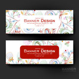 Beautiful banner vector template with floral abstract background Royalty Free Stock Photo