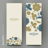 Beautiful banner vector template with floral Stock Photography