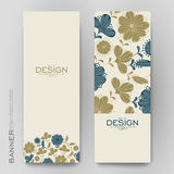 Beautiful banner vector template with floral background Royalty Free Stock Images