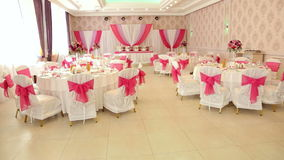 Beautiful banquet hall for wedding. stock video footage