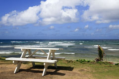 Beautiful Barbados Beach. Landscape view of a beautiful east coast Barbados beach with a picnic table in the foreground stock images