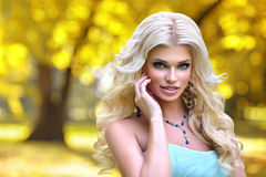 Beautiful barbie girl in the autumn park. In blue dress stock photography