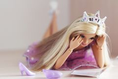 A beautiful barbie with white hair. Stylish doll. Royalty Free Stock Photo