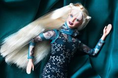 A beautiful barbie with white hair. Stylish doll. Royalty Free Stock Photos