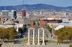 The roofs of Barcelona. View of Barcelona from above. Stock Photos