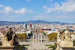 The roofs of Barcelona. View of Barcelona from above. Stock Photo