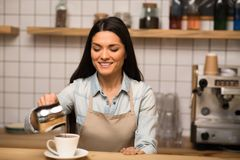 Barista pouring coffee royalty free stock image