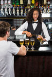 Beautiful barmaid serving beer Royalty Free Stock Photography