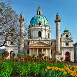 Beautiful baroque cathedral in Vienna Stock Photos