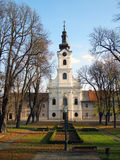 Beautiful baroque church. Across park in Bjelovar; Croatia Stock Images