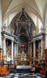 Beautiful baroque church interior in Brussels, Belgium. Culture and touristic concept stock images