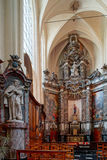 Beautiful baroque church interior in Brussels, Belgium. Culture and touristic concept royalty free stock photography