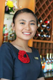 Beautiful bartender. Photograph of beautiful bartender at work stock photography