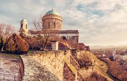 Beautiful basilica in Esztergom et sunset, yellow filter Stock Photography
