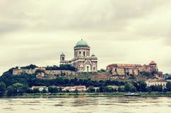 Beautiful basilica in Esztergom, Hungary, retro photo filter Stock Image