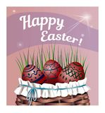 Beautiful basket with Easter eggs on the grass. Vector illustration. Beautiful lettering Happy Easter. Beautiful basket with Easter eggs on the grass. Beautiful Stock Image