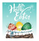 Beautiful basket with Easter eggs on the grass. Vector illustration. Beautiful lettering Happy Easter. Beautiful basket with Easter eggs on the grass. Beautiful Stock Images