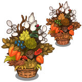 Beautiful basket with flower arrangement. Vector. Illustration in a cartoon style. Image isolated on white background Royalty Free Stock Photo