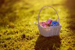 Beautiful basket with traditional painted Easter eggs in the garden Stock Images