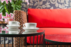 Beautiful basketwork furniture Royalty Free Stock Photo