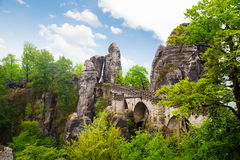 Beautiful Bastei bridge view, Sachsische Schweiz. Beautiful view of Bastei bridge, Sachsische Schweiz near Dresden area, Germany Stock Photos