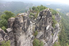 Beautiful Bastei, rock formation in Germany Stock Images