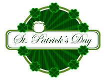 A beautiful batch having clover. Cauldron and text for St. Patrick's Day. Vector Royalty Free Illustration