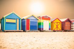 Beautiful Bathing houses on beach at Brighton beach in Melbourne royalty free stock photography