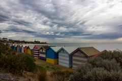 Beautiful Bathing houses at Brighton beach in Melbourne, royalty free stock photos